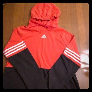Coral and Gray ADIDAS hooded sweatshirt